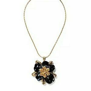 NY & Co Black and Gold Flower Pendant Necklace